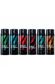 Wild Stone Forest Spice, Aqua Fresh, Ultra Sensual, Red, Hydra Energy, Night Rider Pack of 6 Deodora For Men